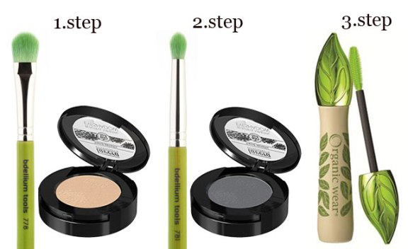 Step by step Eyes: Lavera eyeshadow Golden Beige(n.2) and Magic grey (n.7), Bdellium Tools brushes n. 778 & n.781 and Organic wear mascara