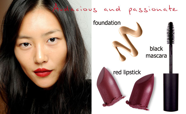 Valentine red inspired look: Passionate and audacious  (left picture from Burberry spring 2013)