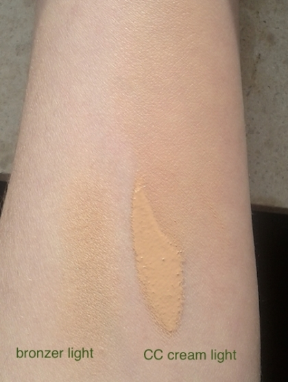 Organic wear CC cream (light) and Organic wear bronzer (light) swatches