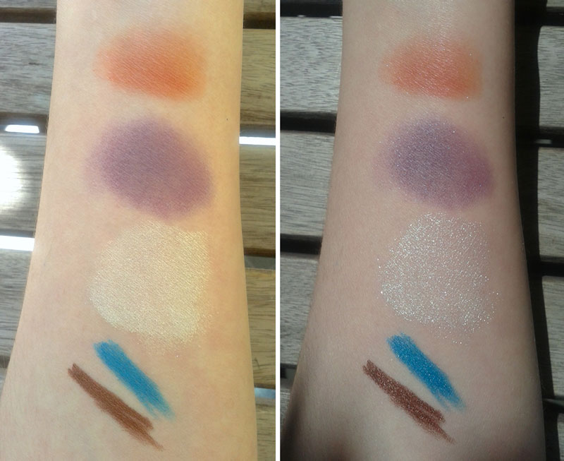 Neve cosmetics swatches, left in the shadow, right on direct daylight