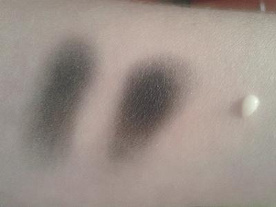 Lavera primer: left eyeshadow without primer, eyeshadow with primer, a drop of primer