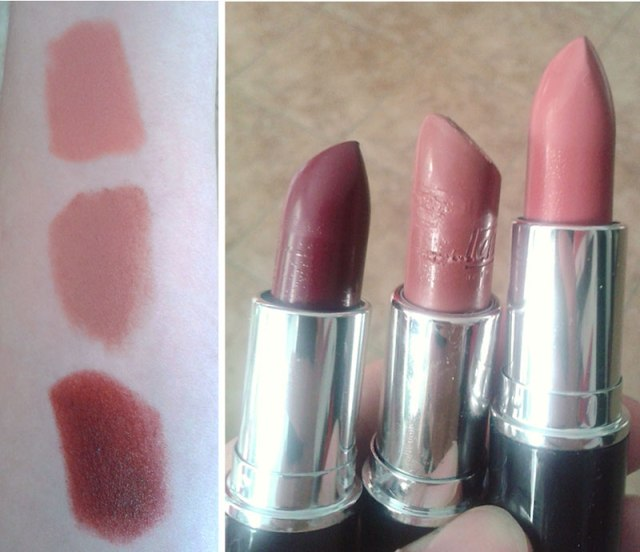 Lavera swatches from top:  n.25, n.21, n.28