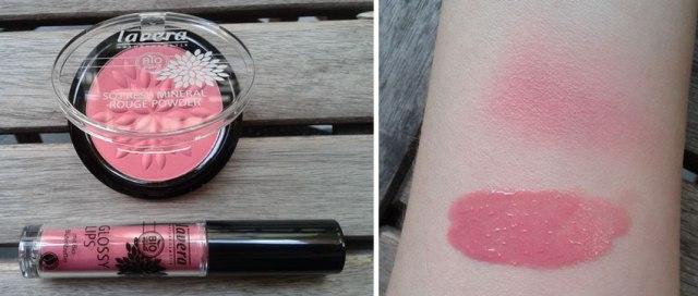 Lavera blush Pink harmony n.4 and lip gloss n.10 Sweet melon