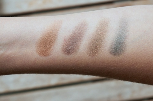 Lily Lolo pressed eyeshadows swatches. From left: Brassed off, Truffle shuffle, Ivy league, Voodoo
