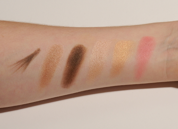 From left: Idun minerals Eyebrow pencil, Palette Brunkulla eyeshadows, Blush Hallon