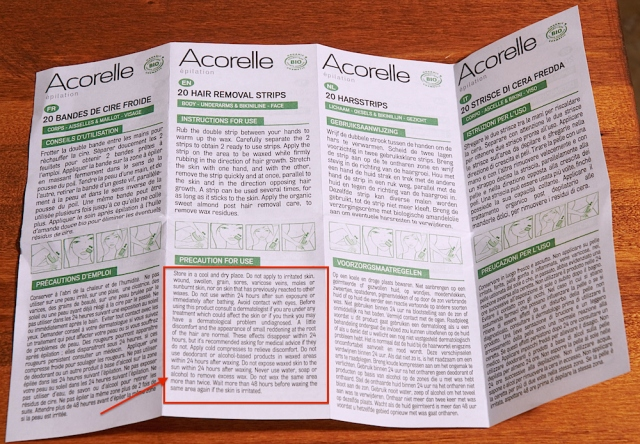 Acorelle strips instructions